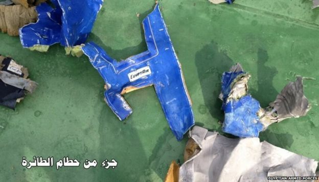 Fragments of wreckage from EgyptAir flight MS804