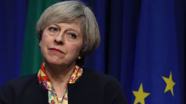 Theresa May during a press conference at Government Buildings in Dublin. Monday January 30, 2017