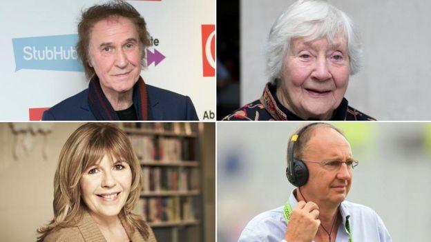 Ray Davies, Baroness Williams, Jonathan Agnew and Maggie Philbin