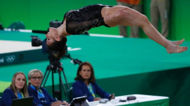 Italy's Erika Fasana competes in the women's floor event final