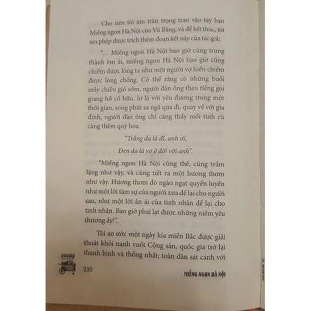 Ảnh chụp trang sách tái bản cuốn Miếng ngon Hà Nội của tác giả Vũ Bằng không được Nhà xuất bản Dân Trí duyệt
