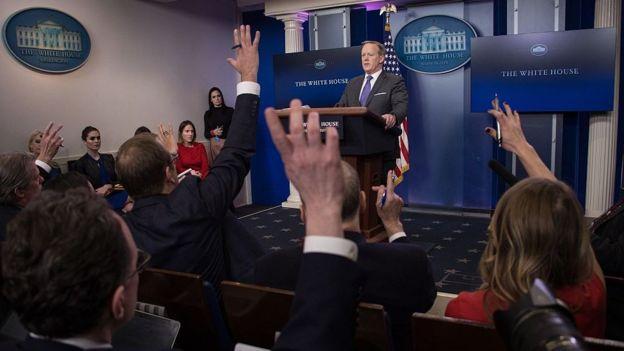 Conferencia de prensa en la Casa Blanca.