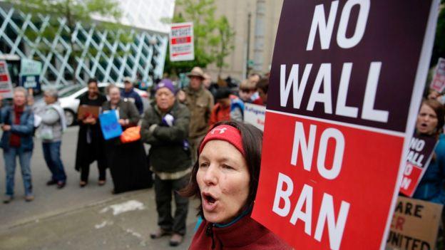 Protesta contra el veto migratorio de Trump
