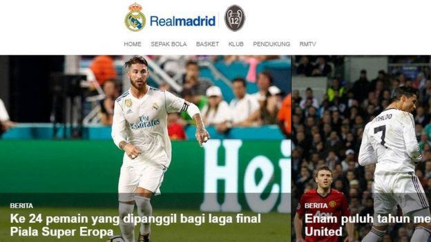 Detail from Real Madrid's Indonesia website
