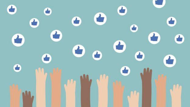 Ilustração de mãos tentando alcançar símbolos de likes