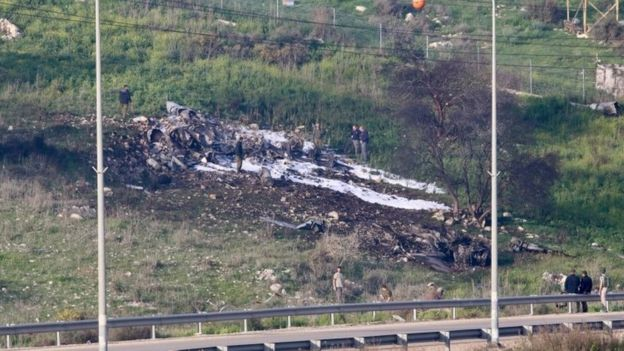 Place of the place in the north of Israel in which an Israeli jet was shot down.  Photo of February 10, 2018.