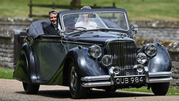 Pippa Middleton in her wedding car