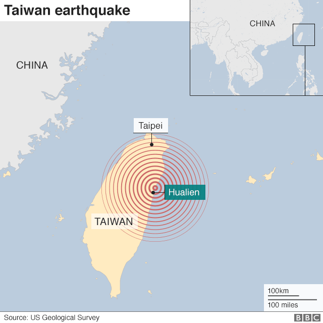 Map of earthquake showing where tremor was sent