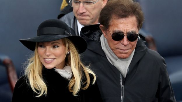 Steve Wynn and second wife, Andrea Hissom, at President Trump's inauguration, January 2017