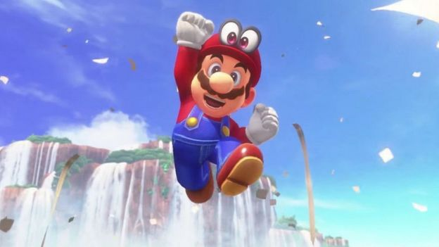 Mario jumps for joy