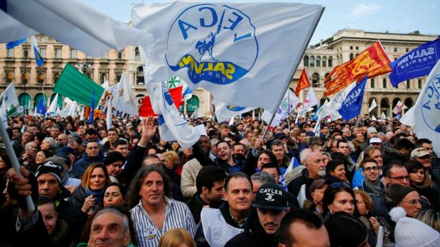 Supporters of Italy's The League party attend a political rally led by leader Matteo Salvini in Milan, Italy, 24 February 2018