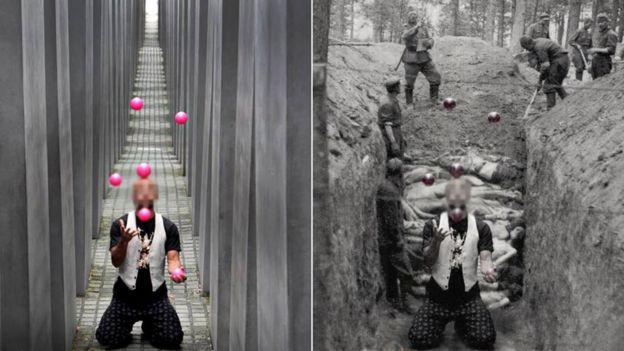 Hombre hace malabarismo, extrapolado a un fondo de una fosa común con cadáveres