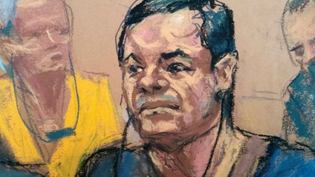 Sketch del Chapo Guzmán en juicio en Estados Unidos.