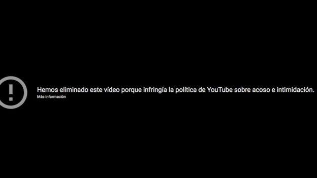 El video ya no puede verse en YouTube