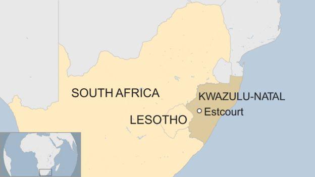 Mapa de Estcourt, Sudáfrica