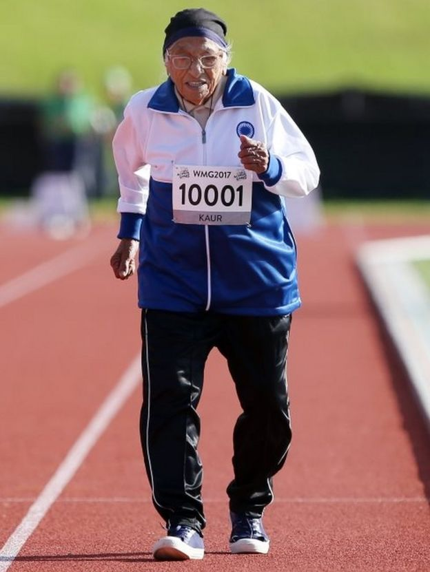 Man Kaur of India, who is 101-years-old, competes in the 100m sprint in the 100+ age category at the World Masters Games at Trusts Arena in Auckland on April 24, 2017