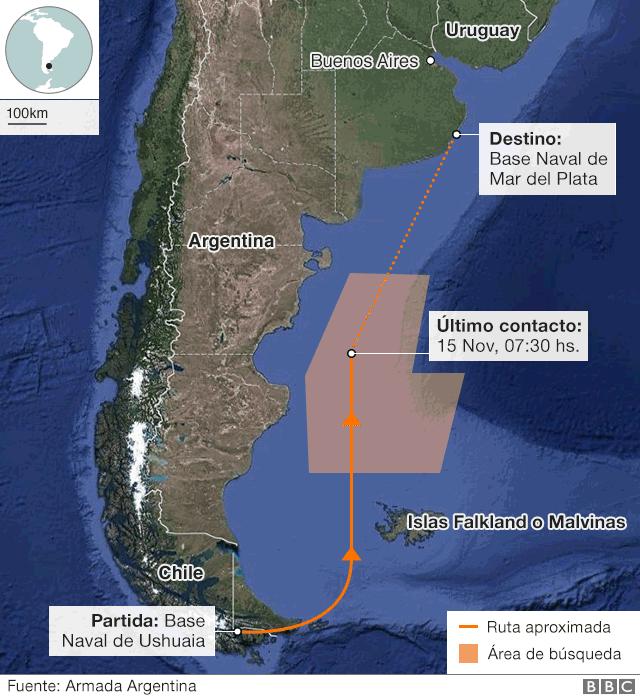 Mapa del recorrido del ARA San Juan