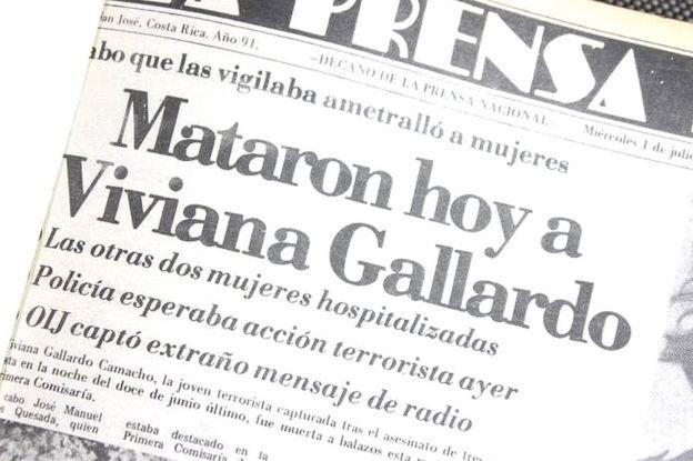Portada de un diario informando del asesinato de Viviana Gallardo.