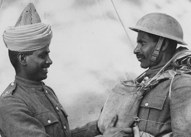 Two Two members of the BEF (British Expeditionary Forces) Indian Troops who have just arrived in England from Dunkirk. (Photo by Fox Photos/Getty Images