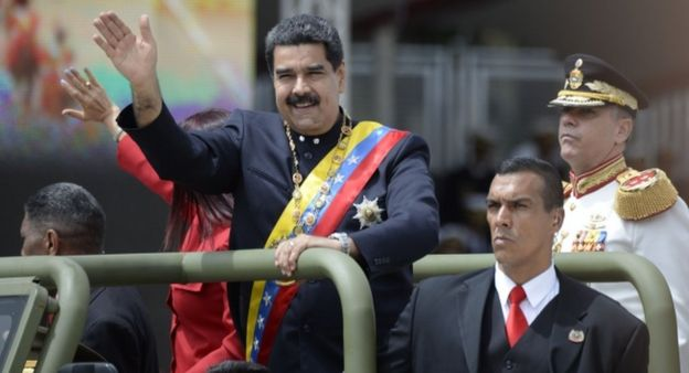 Venezuelan President Nicolas Maduro heads the country's Independence Day celebrations in Caracas on July 5, 2017