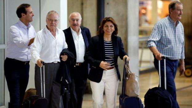 Los expresidentes Quiroga, Rodríguez, Pastrana, Chinchilla y Fox.