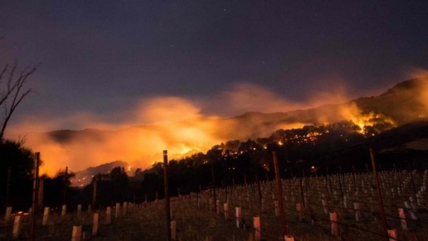 Fire burns along Napa valley