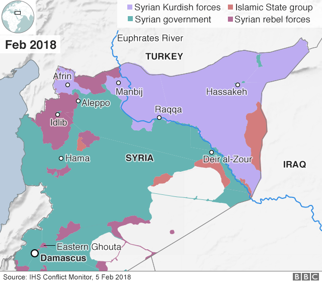 A map of Syria showing who controls the different areas
