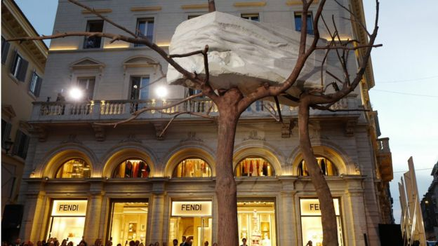 Fendi of the artwork by Giuseppe Penone that was recently installed outside their main store in Rome