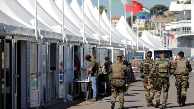 French soldiers patrol in Cannes ahead of the festival