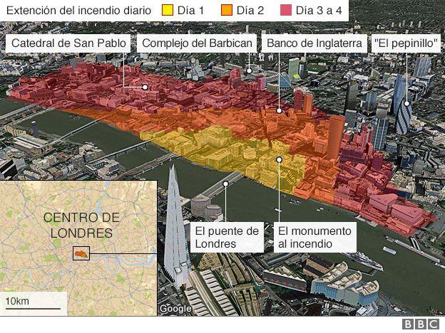 Mapa que muestra cómo evolucionó el fuego