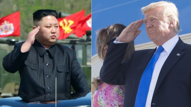 朝鲜领导人金正恩和美国总统特朗普的合成照片