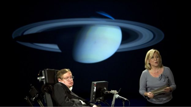Stephen Hawking na Universidade Washington University em Washington, 2008