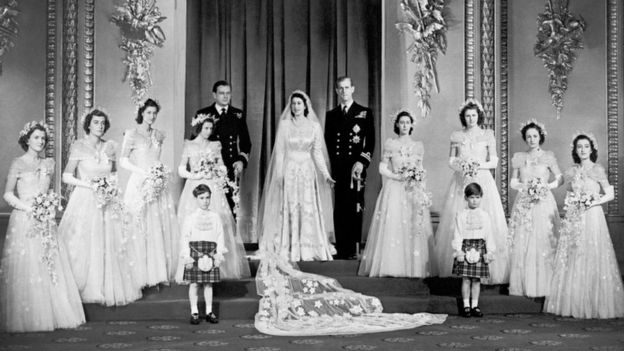 The Queen and Prince Philip with other Royal on the Buckingham Palace balcony on their wedding day.