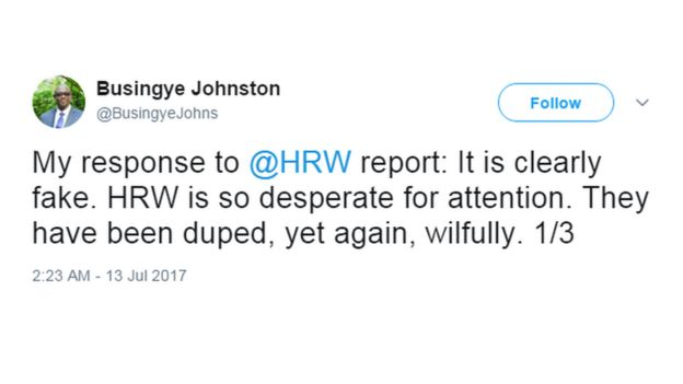 A screengrab of the Rwandan Justice Minister's tweet, which reads: 'My response to [the] HRW report. It is clearly fake. HRW is so desperate for attention. They have been duped, yet again, wilfully.'