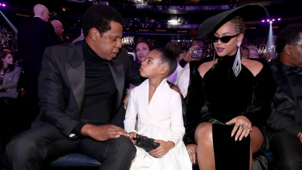 Jay-Z with daughter Blue Ivy and Beyonce