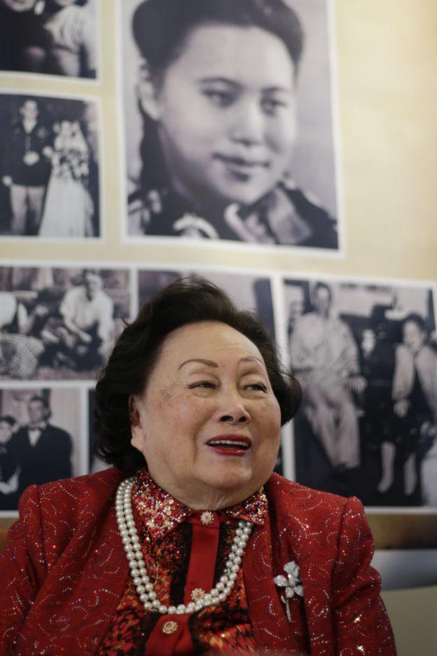 2016年,陳香梅在紐約出席91歲壽辰圖片展