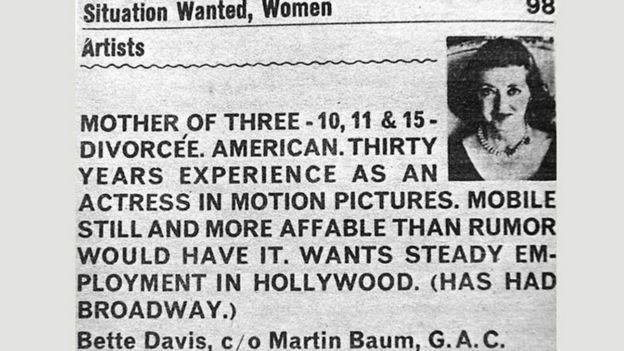 Un aviso de prensa publicado por Bette Davies buscando empleo