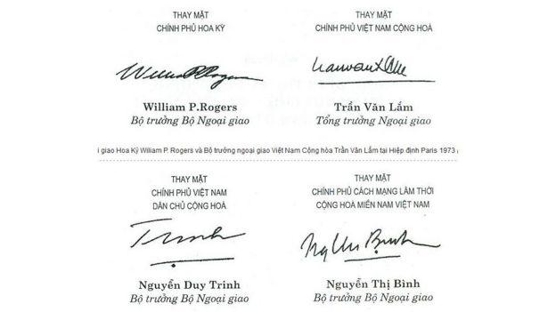 Chữ ký các Ngoại trưởng, Hiệp định Paris 1973