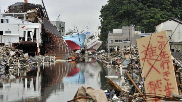 Destroços do terremoto de 2011 no Japão