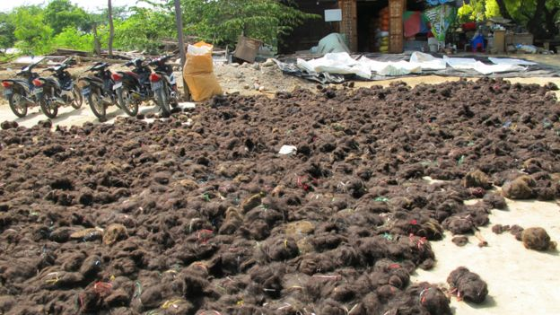 Untangling where your hair extensions really come from bbc news piles of unsorted hair in myanmar pmusecretfo Images