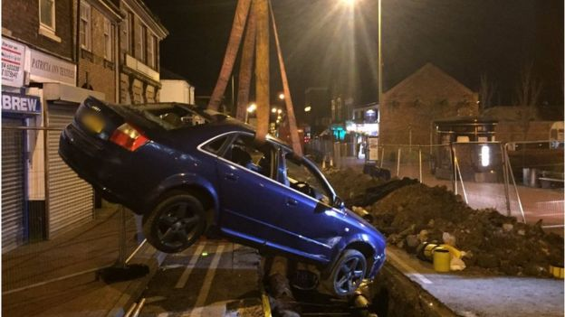Crashed Car Lands On Gas Main In Cradley Heath Street Trench Bbc