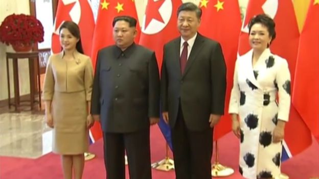 Kim Jong-un and Xi Jinping with their wives