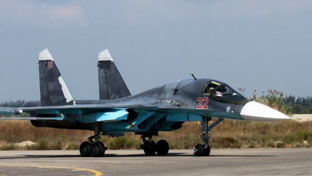 Russian Su-34 bomber taxies at Hmeimim air base in Syria (file)