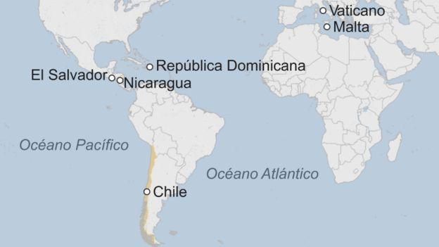 Mapa países donde es ilegal el aborto.