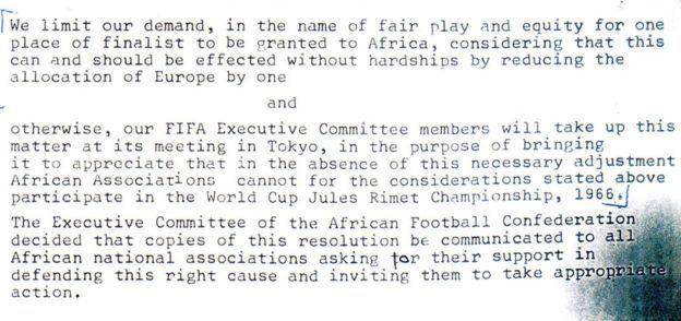 Официальное письмо руководства Кубка африканских наций FIFA