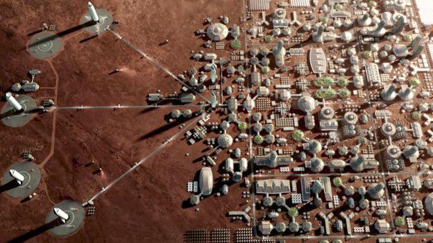 Ilustração de cidade em Marte