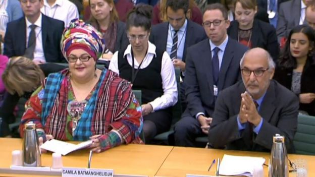 Camila Batmanghelidjh with Alan Yentob in front of the Commons Public Administration Committee, 15 October 2015