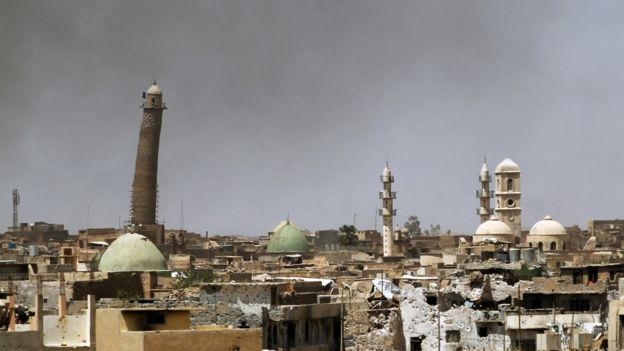 Mosque's minaret (pictured left) in Mosul on 24 May 2017
