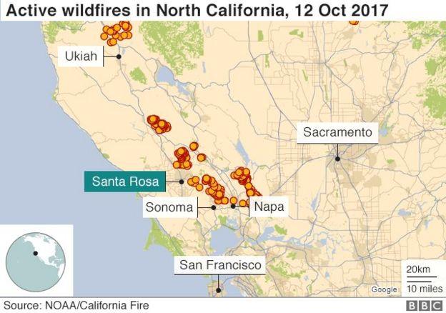 Các đám cháy vẫn đang hoành hành ở miền Bắc California hôm 12/10/2017
