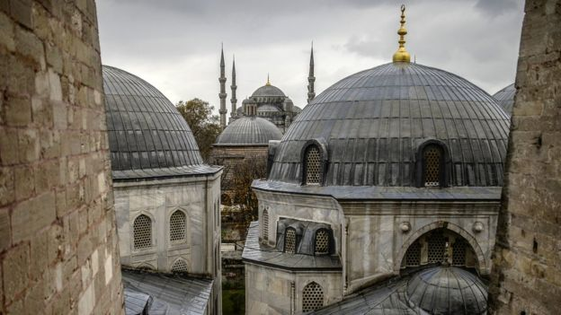 Domes of Istanbul's Blue Mosque